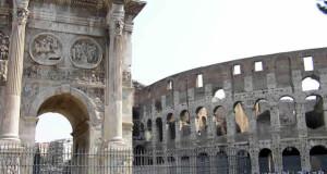 L'Arc de Constantin et le Colisée, Rome, Italie. Auteur et Copyright Marco Ramerini