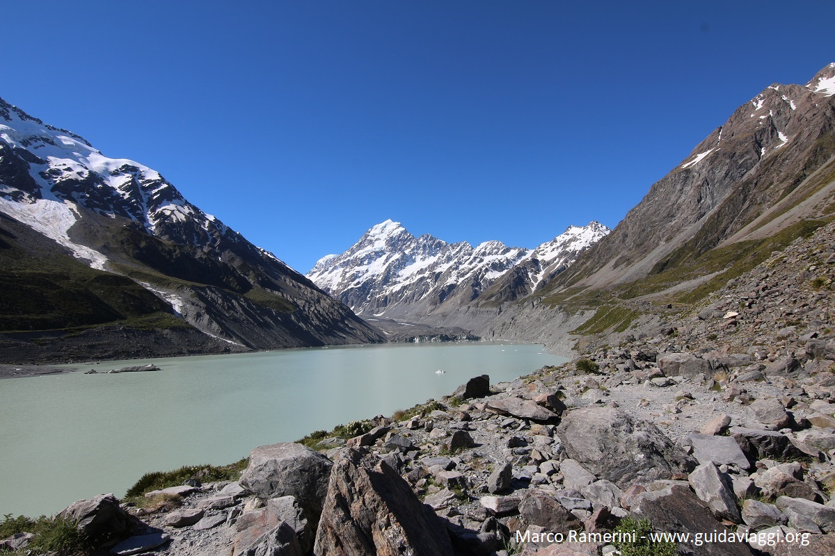 Hooker Lake, Hooker Valley Track, Mount Cook, Nouvelle-Zélande. Auteur et Copyright Marco Ramerini
