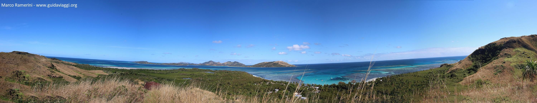Vue d'ensemble de la plage de Blue Lagoon, île de Nacula, îles Yasawa, Fidji. Auteur et Copyright Marco Ramerini