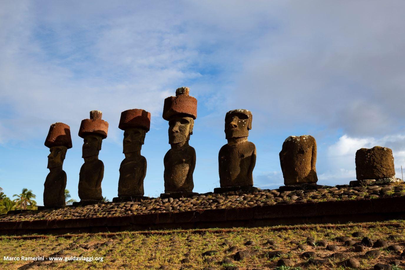 Ahu Nau Nau, Anakena, Île de Pâques, Chili. Auteur et Copyright Marco Ramerini