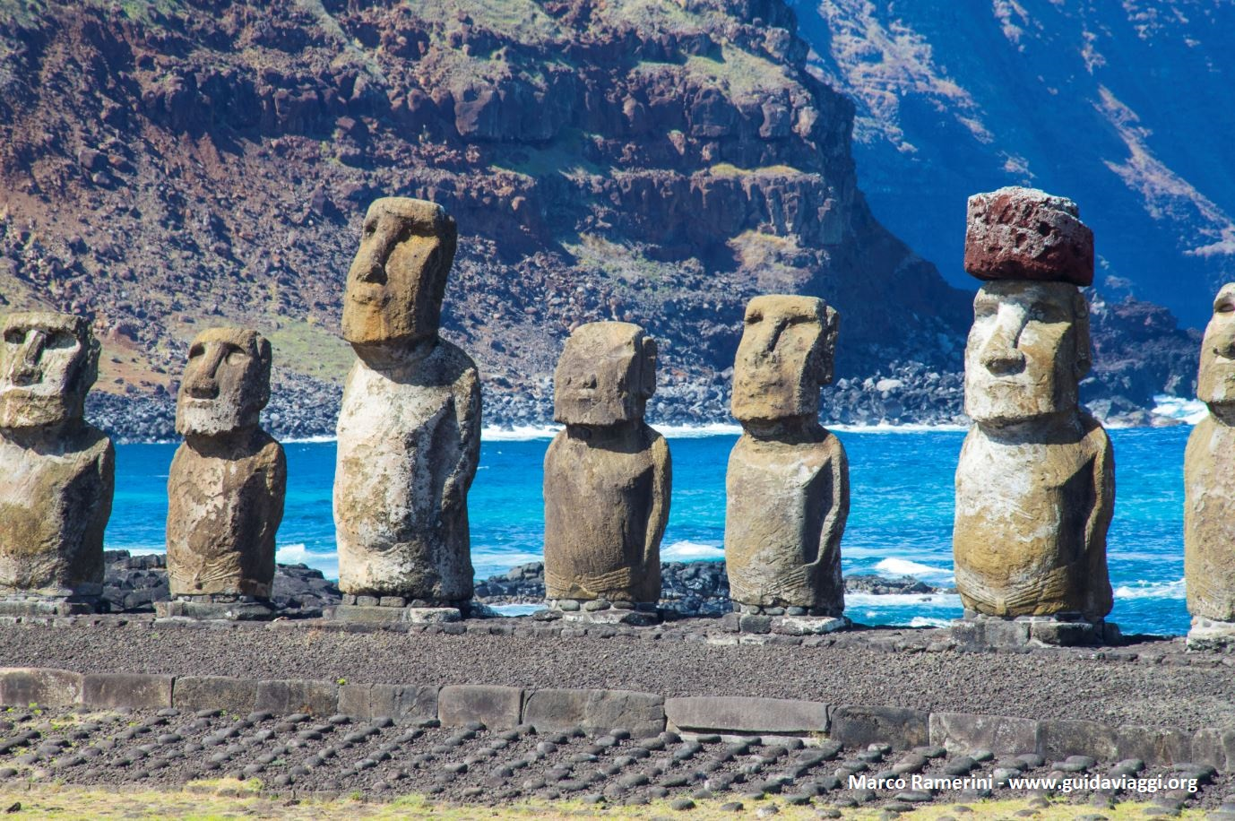 Ahu Tongariki, Île de Pâques, Chili. Auteur et Copyright Marco Ramerini