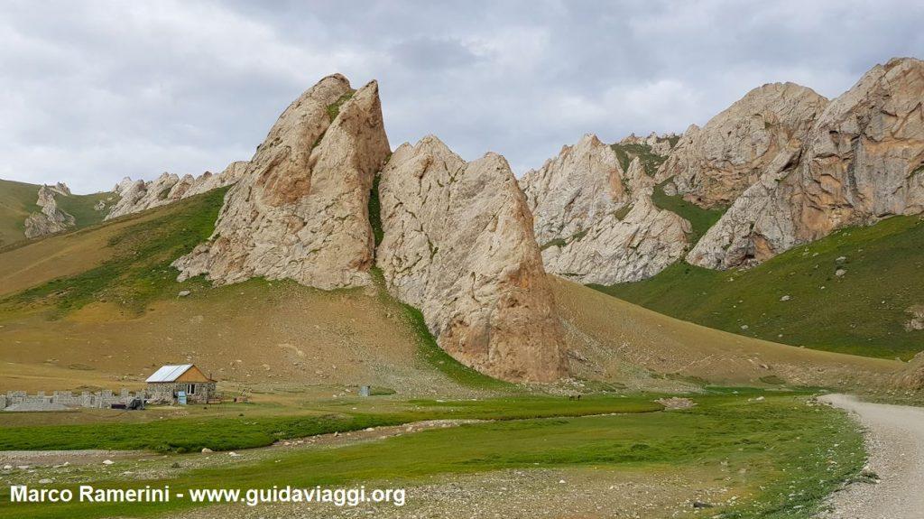 Montagnes près du caravansérail de Tash Rabat, Kirghizistan. Auteur et Copyright Marco Ramerini
